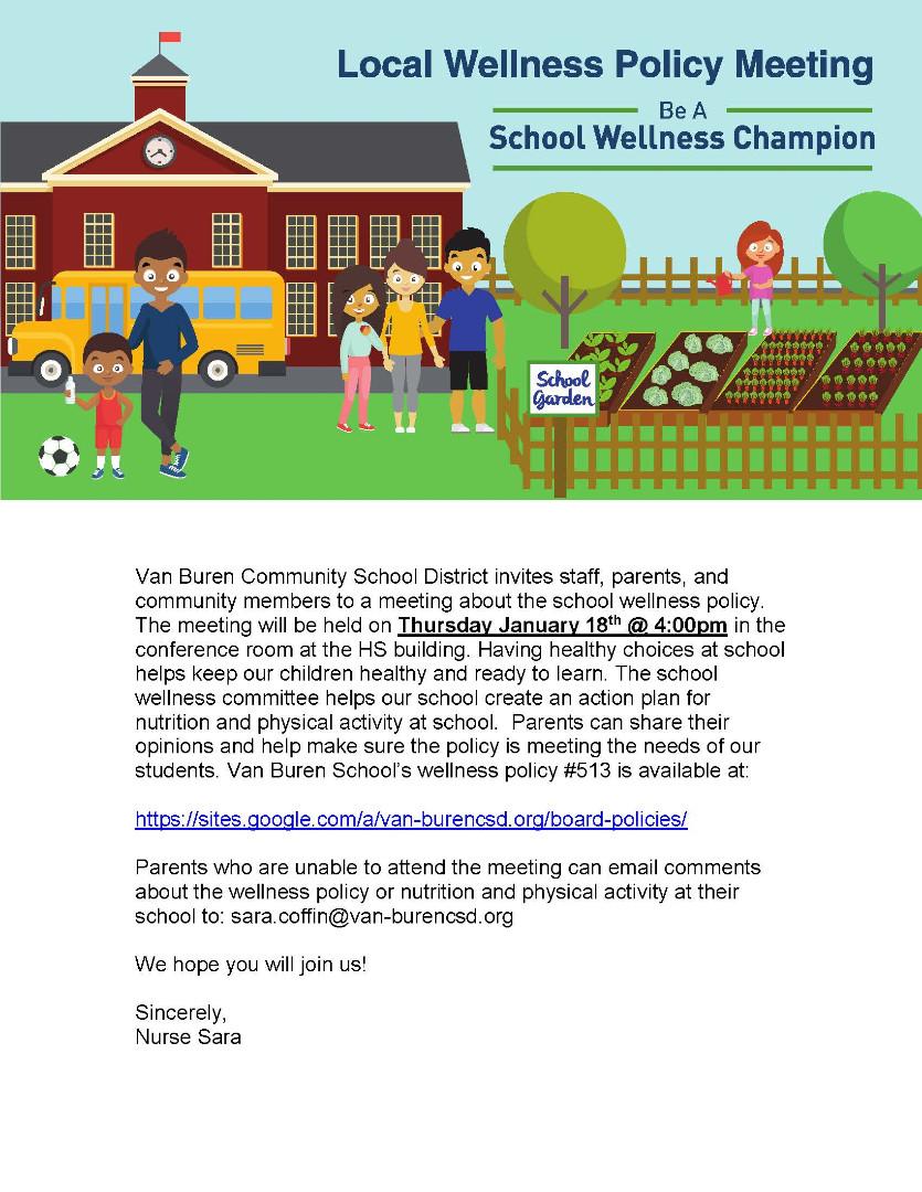 Van Buren Community Schools - VB Wellness Policy Revised
